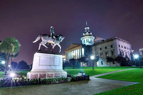 South Carolina state house at night